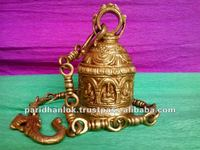 TEMPLE BELL OF NAV GREH GODS WITH CHAIN BRASS SCULPTURE