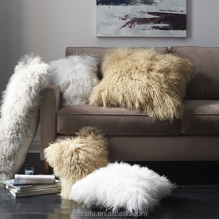 ST-MLC16x16 off white color Mongolian lamb fur cushions long soft curly hairs Tibetan sheepskin wool pillows
