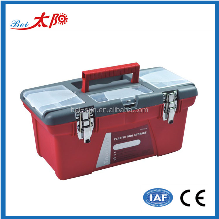 High quality double-layer toolbox 16-inch Portable Plastic tool box Iron buckle multifunction tool case