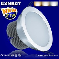 5 years warranty IP44 Rating dimmable 3*1w led downlight