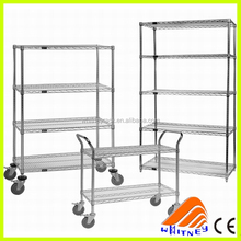 Chrome Rolling Utility Hand Cart ,Metal shelving basket,Adjustable Metal Chrome Kitchen Trolley