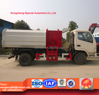 dongfeng small side lifting rubbish truck, rear tipper garbage truck for sale