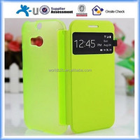 Clear Matt PC + Leather Flip Hard Back Cover Case For HTC one M8