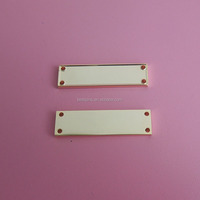 metal gold decorative blank rectangle strip with four holes for clothing
