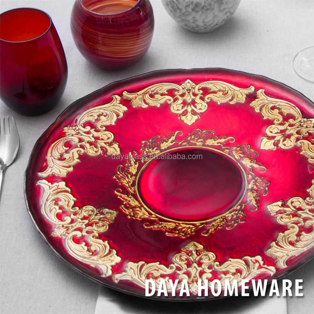 GP0020-1 Wholesale dishes clear fancy glass wedding charger plates for hotel and restaurants
