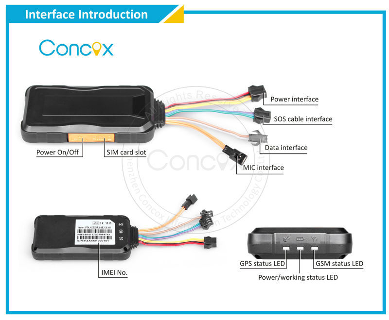 Concox Manufacture TR06 Multi-functional GPS Vehicle Tracker fuel cut off/SOS alarm/more than 1 year warranty