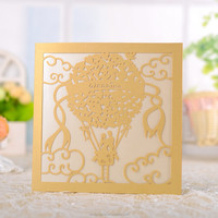 Ivory with silk ribbon and elegant Laser cut wedding invitation cards with suitable price