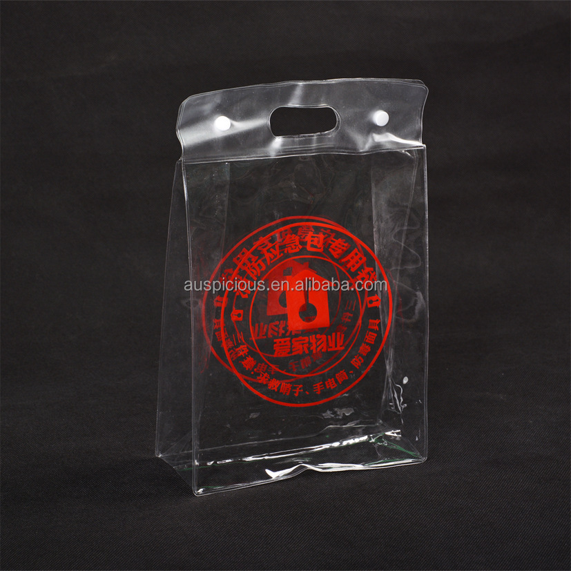 Clear pvc foldable tote plastic handle bag with snap button closure