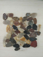 Mixed Sliced Polished River Pebble Stone Mosaic Tile for Decoration