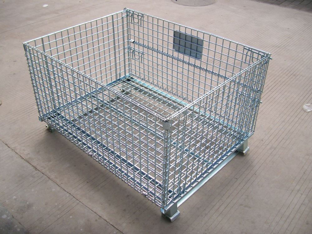 Wire Mech Storage Container Folding Steel Storage Cage
