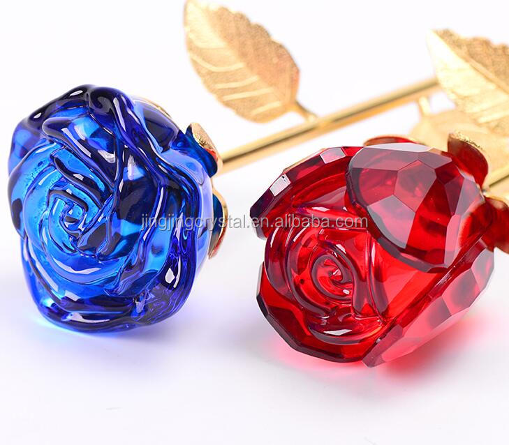 Vivid Creative Gift Crystal Glass Rose Flower For Sale