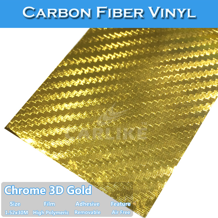 SINO Car Sticker Chrome 3d Carbon Fiber Car Logo Stickers1.52x30m