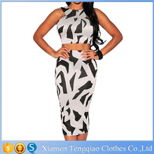 Sexy Two Piece Separate dresses White and Black irregular geometry Print Club Party Dress for Women