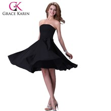 Grace Karin Strapless Knee Length Chiffon Bridesmaid Dress CL4096