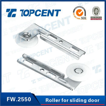 [FW.2550] Iron and nylon nickel finish sliding wardrobe door roller