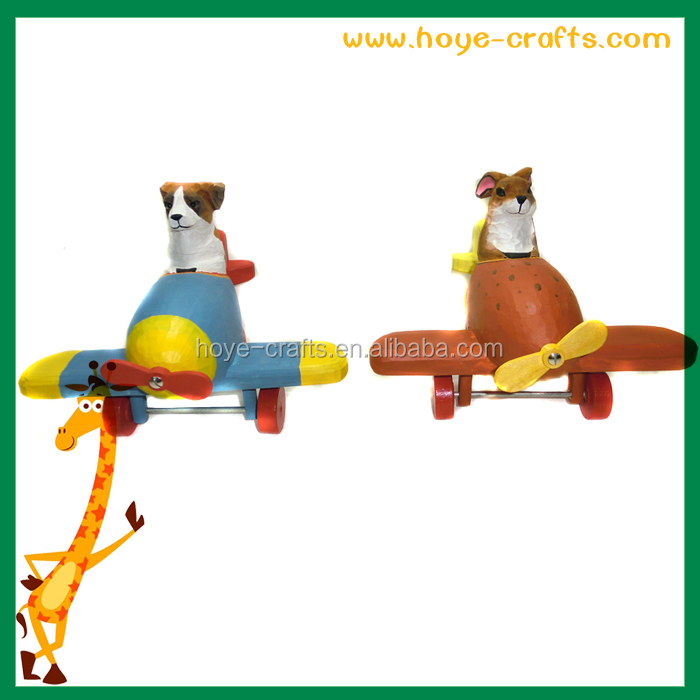 wooden airplane design animal dog pull toy for children