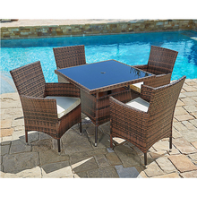 Hot sale outdoor Leisure weatherproof rattan wicker outdoor furniture rattan dining set