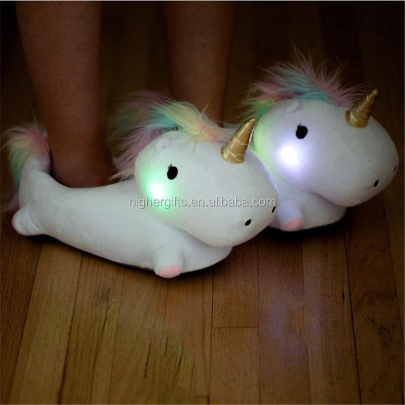 Magical Light UP Unicorn <strong>Slippers</strong> Soft Cotton Home <strong>Slippers</strong> Winter Plush Fur <strong>Slippers</strong> for Kids Children