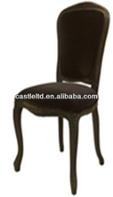 Black finished wooden ding chair,antique style upholstered chair