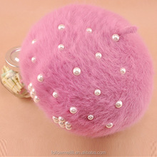 KH021a Latest style winter hat Caps Beanies Hats For Women Girl 'S Cap with rabbit fur pearl