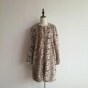 100% polyester leopard print warm winter artificial animal fur women's coat