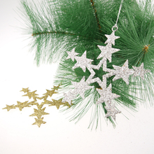 "Christmas 5"" Glittered Metal Star ornement Christmas Star Decorations"
