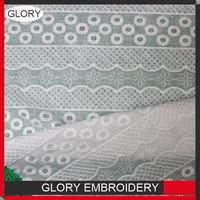Professional embroidery net voile china supplier water soluble lace cutwork embroidery cotton fabric with CE certificate
