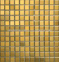 Gold Color Glass Mosaic Tile Wholesale Price for Swimming Pool Glass Tile