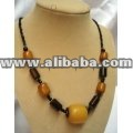 Deep Orange African Amber Beaded Chunky Necklaces - Kenya