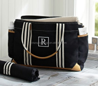 Fashion cotton canvas Genuine leather mummy travel Diaper Bag wholesale