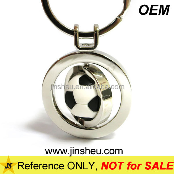 Bulk wholesale cheap promotional soccer ball rotating key chain
