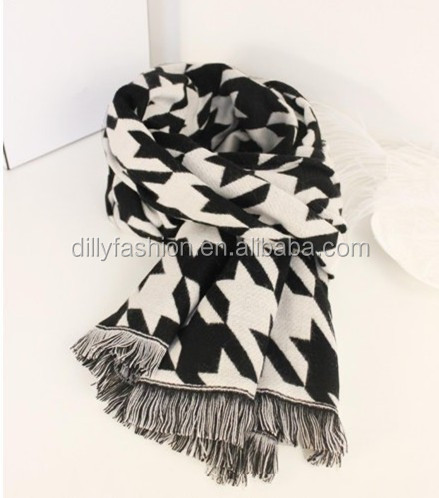 2016 tassel black white color cashmere cotton scarf