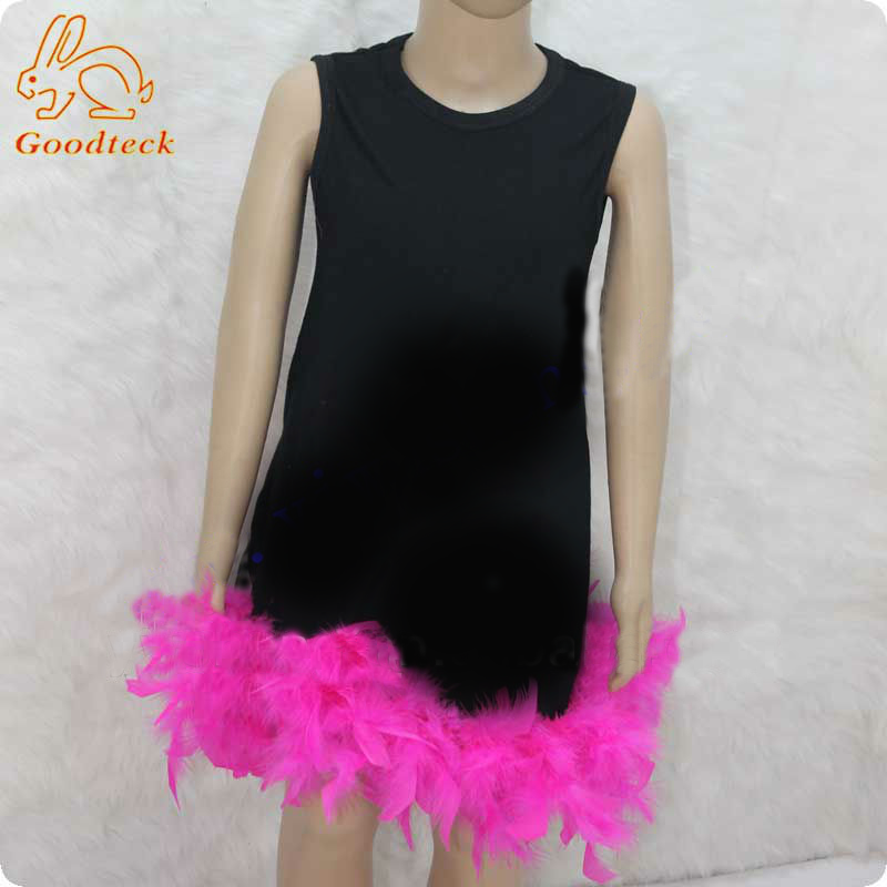 2018 newest pink feather pettiskirt dress for girls
