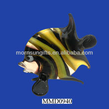 Russian Murano Hand-Blown black yellow fish sea life figurines