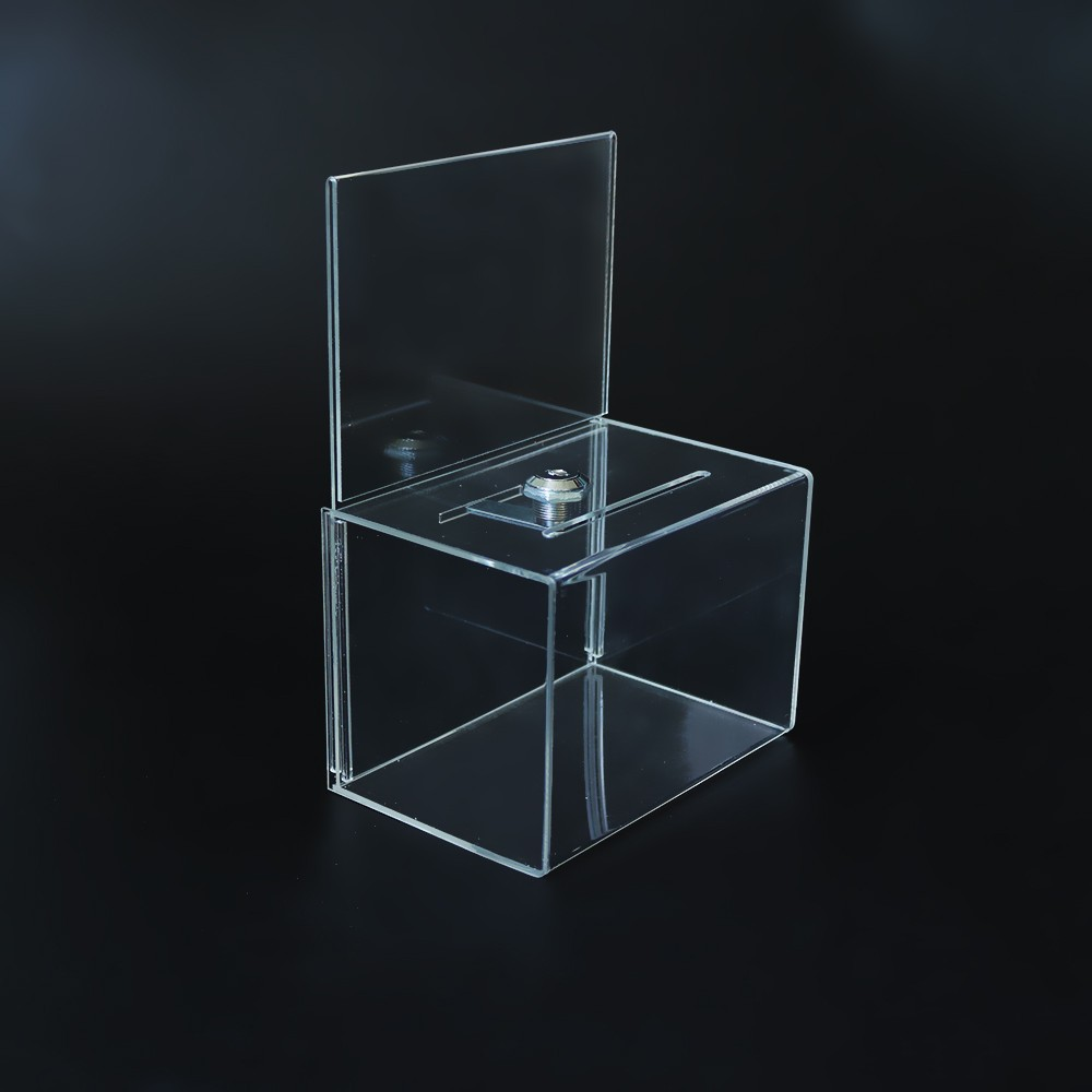 Wholesale Clear Acrylic Charity Donation Box with Lock.jpg
