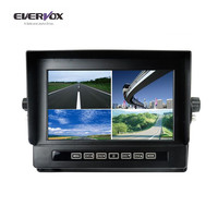 7 Inch TFT LCD Car Rearview Quad Split Monitor with Remote Control and 4 Channels 4PIN Shockproof Connector Video Inputs