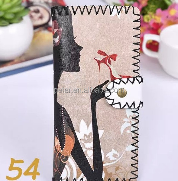 LW-151118 yiwu factory Women Colorful Print PU Leather 12slots Card Holder Clutch purse