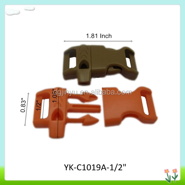 "Whistle buckle with fire starter,plastic whistle buckle with flint ,1/2 "" flint buckle"