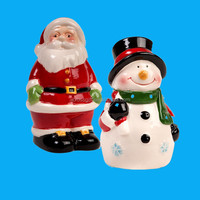 color glazed snowman and santa christmas decoration and gifts