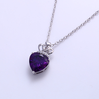 41839-Xuping Gold Heart Necklace Wholesale Sweet Diamond Necklace For Girlfriend Gifts