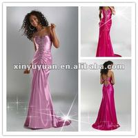 Hot Selling Red Sweetheart Ruffles Sheath Beaded Floor Length Evening Dresses Prom Gowns P4556