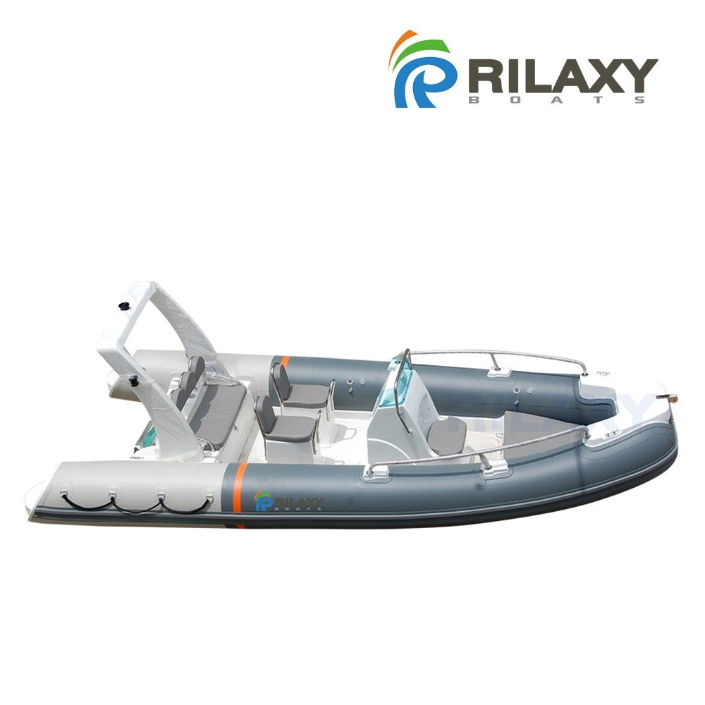 Rilaxy 5.2m 17ft fiberglass hull rigid inflatable boat with Orca 828 Hypalon Tube RIB520A