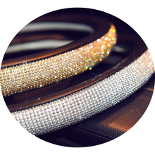 High quality lady rhinestone gem stone car steering wheel cover
