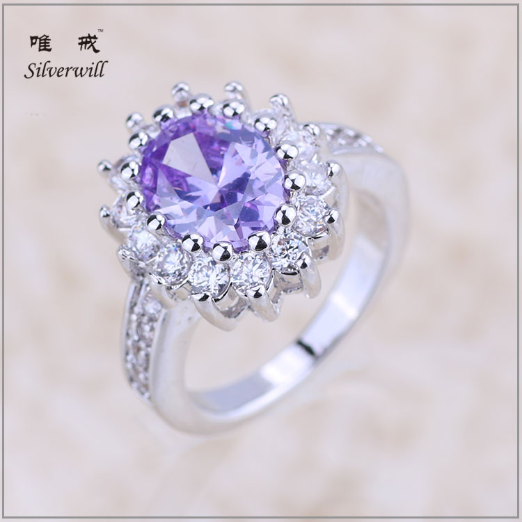 Fashion jewelry wholesale handmade Sterling real silver ring 925 with big purple stone