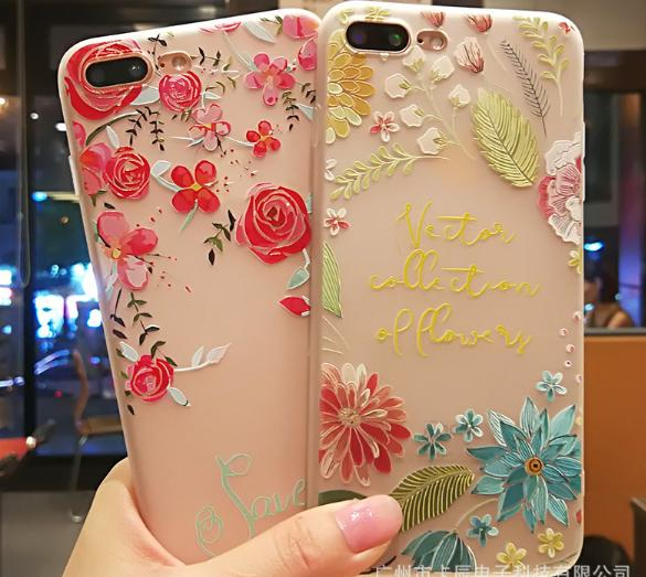 Colored Drawing flower Relief Full Cover Sublimation Tpu Phone Back Cover Case For iPhone 7 7 Plus