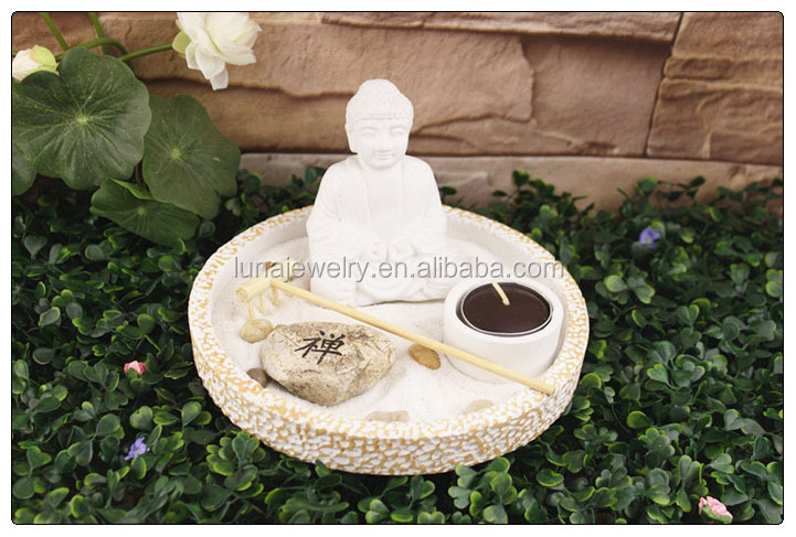 White buddha mini zen garden ,mini garden accessories