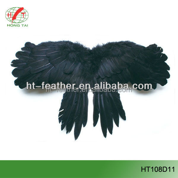 Wholesale Christmas Birthday party decoration feather black angel wings for sale