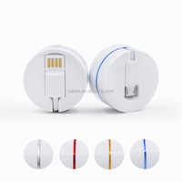 Private patented 80CM Long Retractable Round Box ABS material 3 in 1 usb data Charger Cable with Free Shipping
