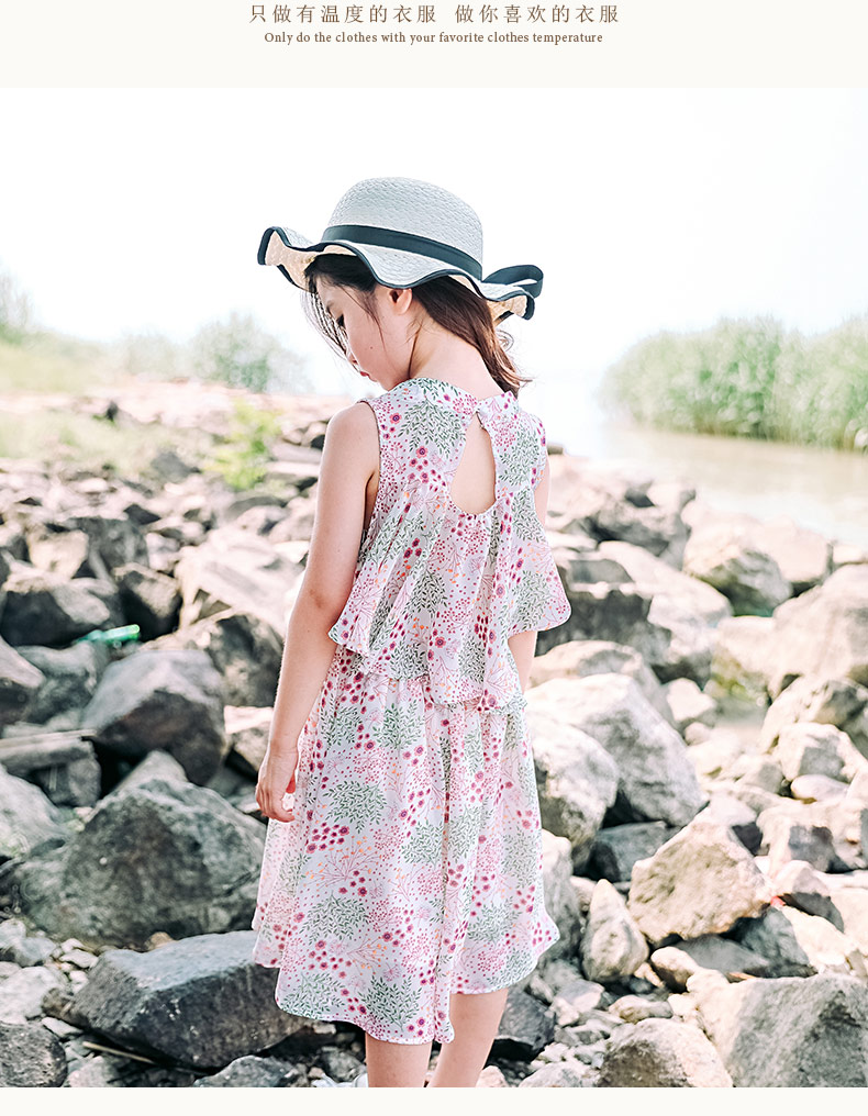 girl's Dream Girl's Coral Lovely   sleeveless Silk Chiffon Girl Dress bowknot soft veil dress flora printing party dress