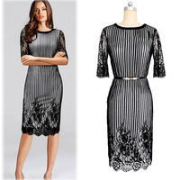 B10669A 2016 low moq ladies formal office wear dress midi dress stripe career dress